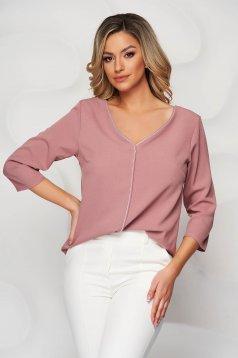 Lightpink women`s blouse v back neckline with glitter details loose fit