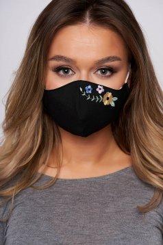 Masca textila pentru femei StarShinerS neagra cu broderie florala