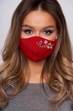 Masca textila pentru femei StarShinerS rosie cu broderie florala