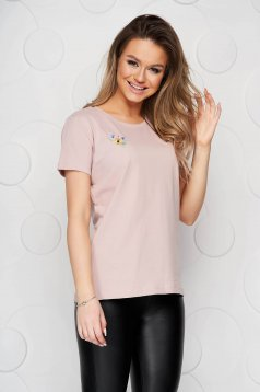 Lightpink StarShinerS t-shirt cotton loose fit