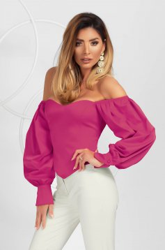 Fuchsia women`s blouse elegant asymmetrical tented with puffed sleeves from satin fabric texture