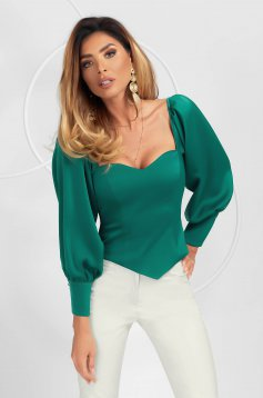 Dirty green women`s blouse elegant asymmetrical tented with puffed sleeves from satin fabric texture