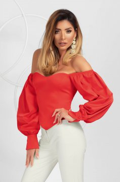 Red women`s blouse elegant asymmetrical tented with puffed sleeves from satin fabric texture