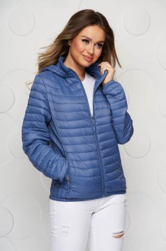 Blue jacket from slicker thin fabric with pockets