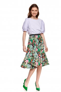 Black skirt midi cloche with floral print