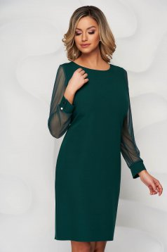 Green dress transparent sleeves with puffed sleeves straight from elastic fabric