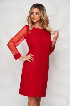 Red dress transparent sleeves with puffed sleeves straight from elastic fabric
