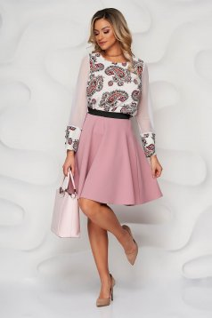 Fusta StarShinerS roz prafuit din stofa in clos cu elastic in talie
