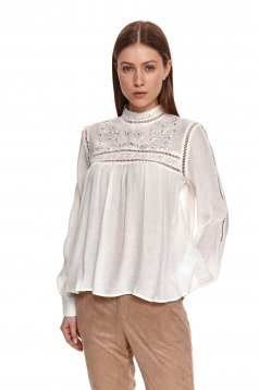 White women`s blouse loose fit thin fabric long sleeved