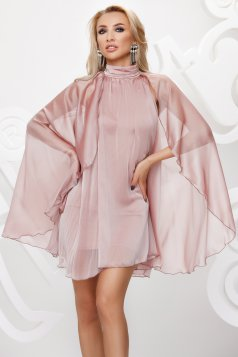 Lightpink from veil fabric with turtle neck short cut occasional dress