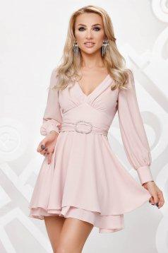 Rochie Artista roz deschis din voal accesorizata cu pietre stras eleganta in clos