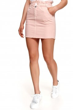 High waisted pink skirt pencil short cut with pockets