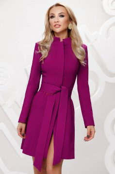 Raspberry trenchcoat tented short cut elegant accessorized with tied waistband bow accessory