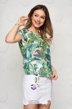 Tricou Top Secret verde cu imprimeu floral casual cu decolteu rotunjit