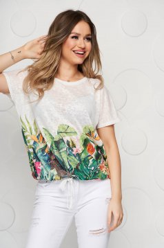 Ivory t-shirt with floral print slightly transparent fabric loose fit