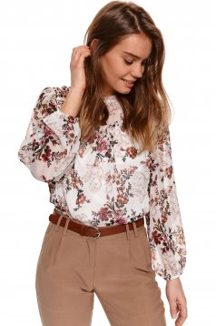 Ivory women`s blouse with floral print from veil elastic held sleeves