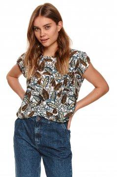Bluza dama Top Secret piersica cu imprimeu floral cu croi larg din material elastic cu decolteu rotunjit