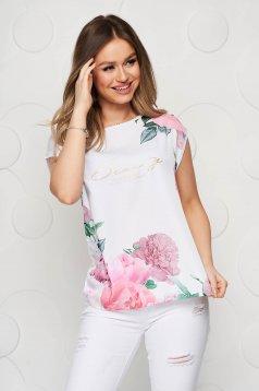 Tricou Top Secret alb cu imprimeu floral din material elastic cu croi larg