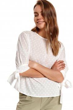 Bluza dama Top Secret ivoire din bumbac usor transparent cu aplicatii din plumeti si croi larg