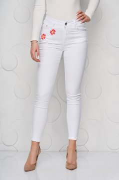 White jeans denim skinny jeans high waisted