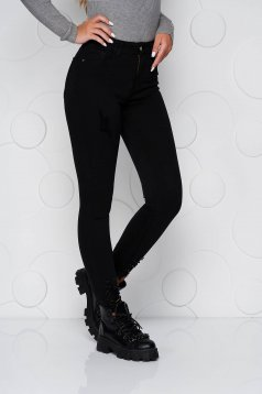 Black jeans denim skinny jeans high waisted with small beads embellished details