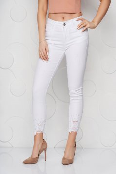 White jeans denim skinny jeans high waisted with small beads embellished details