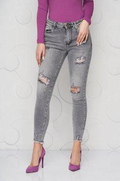 Grey jeans denim skinny jeans small rupture of material