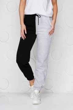 Grey trousers cotton high waisted with elastic waist