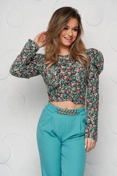 Bluza dama SunShine verde-inchis cu imprimeu floral mulata cu material si umeri cu volum