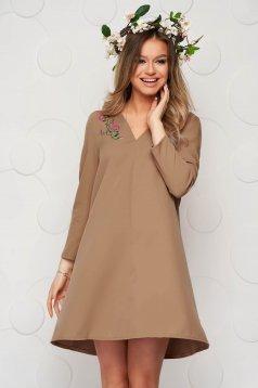 Brown dress a-line slightly elastic fabric