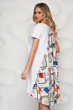 White dress loose fit with graphic details from satin fabric texture