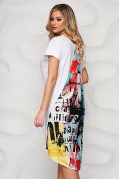 Rochie SunShine alba cu imprimeuri grafice cu croi larg si insertii de material satinat