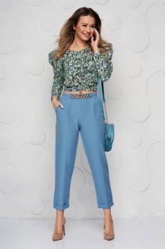 Pantaloni SunShine albastri din material neelastic cu croi larg accesorizat cu lant metalic