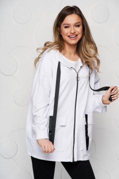 White coat cotton loose fit with pockets