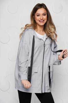 Grey coat cotton loose fit with pockets