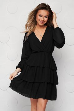 Black dress cloche with elastic waist from veil fabric with ruffle details short lining under the skirt