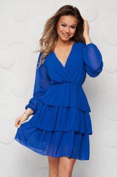 Rochie SunShine albastra din voal clos cu elastic in talie cu volanase si captuseala
