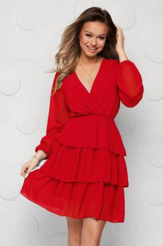 Red dress cloche with elastic waist from veil fabric with ruffle details short lining under the skirt