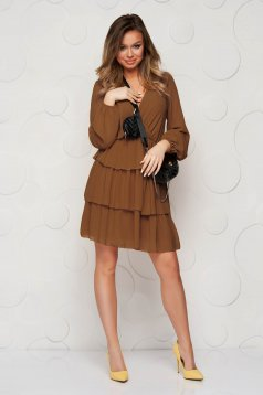 Brown dress cloche with elastic waist from veil fabric with ruffle details short lining under the skirt