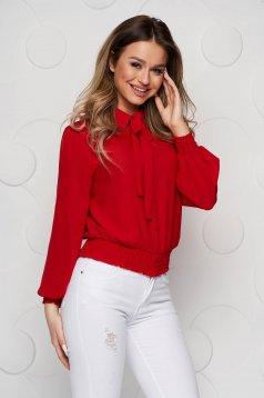 Bluza dama SunShine rosie din voal cu elastic in talie si guler tip esarfa