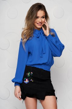 Blue women`s blouse from veil fabric with elastic waist