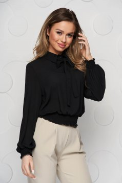 Black women`s blouse from veil fabric with elastic waist