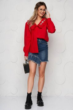 Red women`s shirt cotton loose fit ruffled collar embroidered