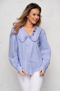 Lightblue women`s shirt cotton loose fit ruffled collar embroidered