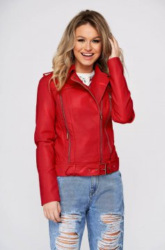 Red jacket from ecological leather tented zipper accessory