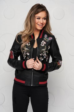 Black jacket from ecological leather loose fit with embroidery details