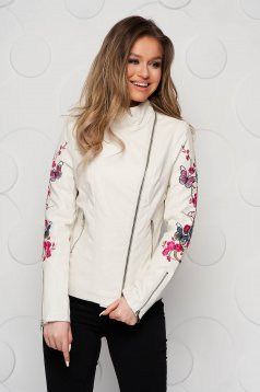 Ivory jacket from ecological leather tented with embroidery details with turtle neck
