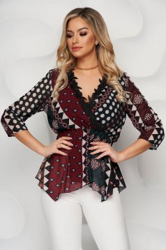Burgundy women`s blouse with graphic details from veil fabric with elastic waist with deep cleavage with lace details