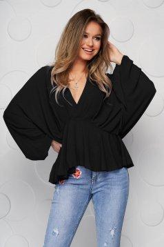 Bluza dama SunShine neagra din voal cu decolteu adanc cu elastic in talie