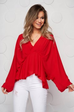 Red women`s blouse from veil fabric with deep cleavage with elastic waist